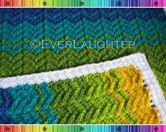 CROCHET PATTERN - Chevron Baby Blanket - 2 sizes