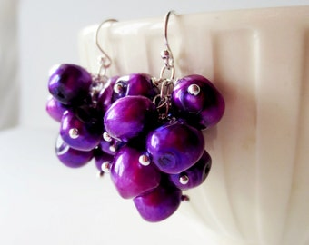 Purple pearl earrings. Grape cluster earrings.  Silver dangle earrings.  Grape pearl earrings.