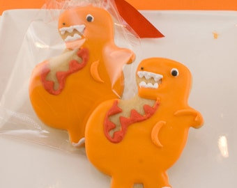 Dinosaur Cookies - 12 Decorated Sugar Cookie Favors