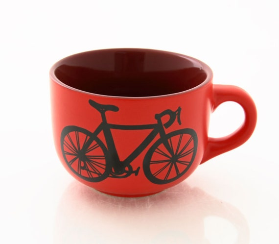 Bike Soup Mug in Red for bicycle lover can be personalized