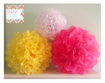 SIP of PINK LEMONADE -  3 Poms- Hot Pink, Light Yellow & White - Mixed Sizes of Tissue Paper Poms/ Flowers
