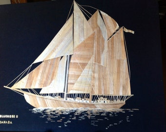 Blue Nose11 CANADA sailing ship handmade with rice straw art. Collectible leaf art. Unique gift