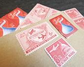 LOVE .. Kisses .. UNused Vintage Postage Stamps  .. post 5 letters