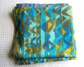 70s Jack Lenor Larsen style fabric remnant - teal turquoise sky blue mustard hippie print - pillow fabric crafting goods