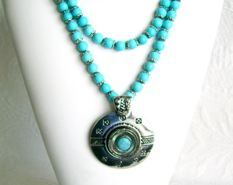 Turquoise and Silver Southwestern One or Two Strand Convertible Necklace