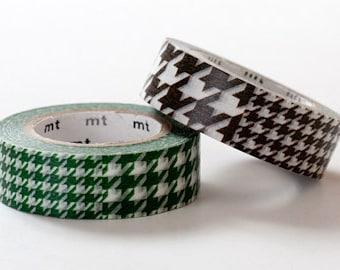 mt Washi Masking Tape - Green & Brown Houndstooth - Set 2
