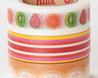 Rink Washi Masking Tape - Fruit Tart Stripes - Set 3