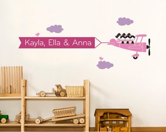 Kids Airplane Wall Decal Triple Seat Name Banner Sibling Play Room Decor Triplet Nursery Wall Decals Personalized