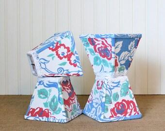 SALE - Chandelier Shade, Floral Lamp Shade, Vintage Linen, Lamp Shade, Cottage, Kitchen Lamp Shade, Lampshade, Farmhouse, Blue