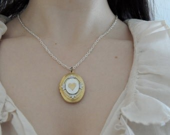 Heart locket // brass heart necklace // love locket