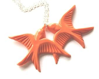 Tangerine orange flying kissing resin swallow love birds silver necklace
