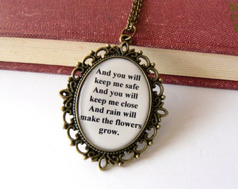 Les Miserables necklace. Quote jewelry. Eponine A Little Fall of Rain lyrics. Long chain. Antique bronze or silver. Musical, movie inspired.