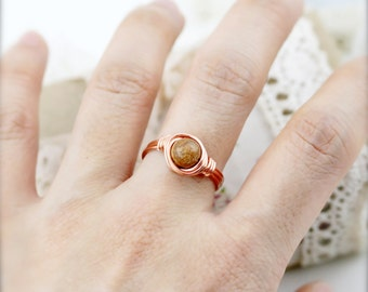 Resourcefulness - Picture jasper wire wrapped ring (SR)