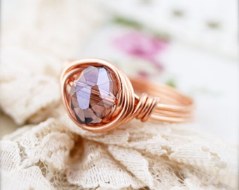 June birthstone color (BSR) - wire wrapped ring - glass crystal