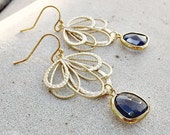 Gold Fan Chandelier Earrings - Purple, Jewel,  Bohemian, Dangle, Wedding