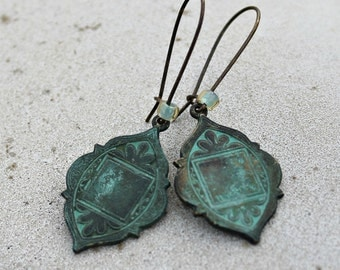 Patina Dangle Earrings, Antique Brass,  Teal Earrings, Verdigris Patina Earrings, Bohemian Earrings