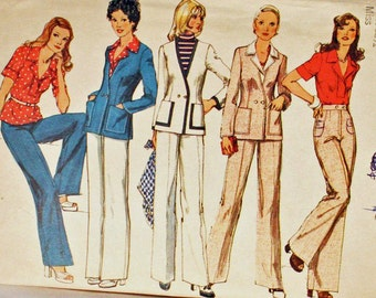 Vintage 1970s Sewing Pattern, Simplicity 6285, Double Breasted Cardigan, Blouse and Pants,  Misses' Size 10, UNCUT, Old2NewMemories
