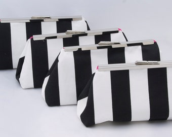 Set of (4) Bridesmaids Gift Clutch Black and White clutches for bridesmaids in wide stripes Design Your Own in various colors and patterns