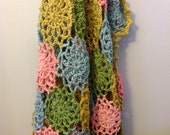 Girl Crochet Blanket- Girl Afghan, Multicolor Pink, Blue, Green, Yellow mustard - 102 round Motif. READY TO SHIP