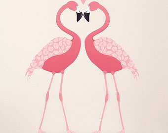 Fabric Wall Decal - Pink Flamingos (reusable) NO PVC