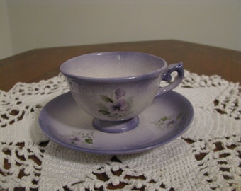Vintage Mini Cup and Saucer White Purple Green With Violet  Flowers