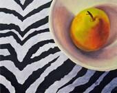 Pear On Zebra - Still Life Fruit Oil Painting, Marina Petro