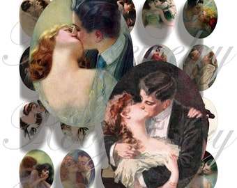 Vintage Kiss 40x30mm oval images for charms, pendant, buttons, scrapbook and more Vintage Digital Collage Sheet No.1072