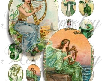 St. Patricks Day 40x30mm oval images for charms, pendant, buttons, scrapbook and more Vintage Digital Collage Sheet No.1107
