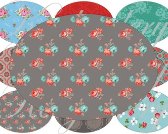 Shabby Chic pattern images large oval for belt buckle and more digital collage sheet No.1196