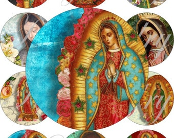 Virgen de Guadalupe images large circles for pocket mirrors and more digital collage sheet No.1200