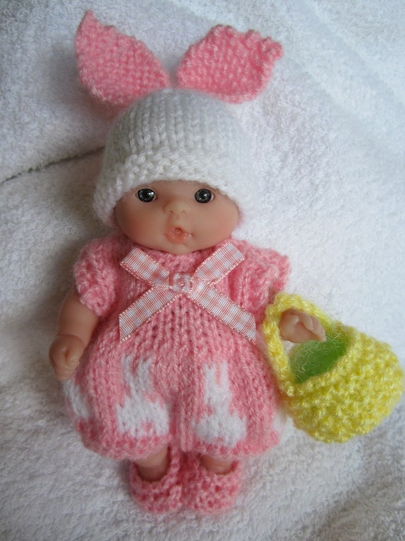 Knitting Patterns For 5 Inch Dolls : Knitted Easter Bunny Romper Set pink for 5 inch by WeGirls ...