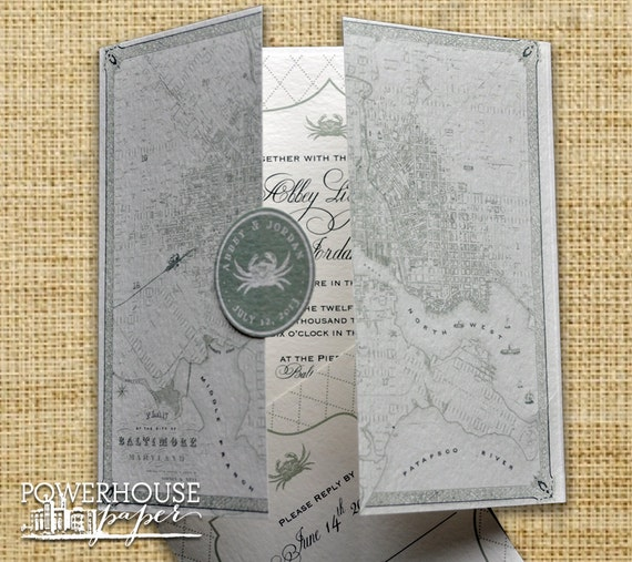 Wedding Invitations With Maps: Baltimore Vintage Map Wedding Invitation DIY We