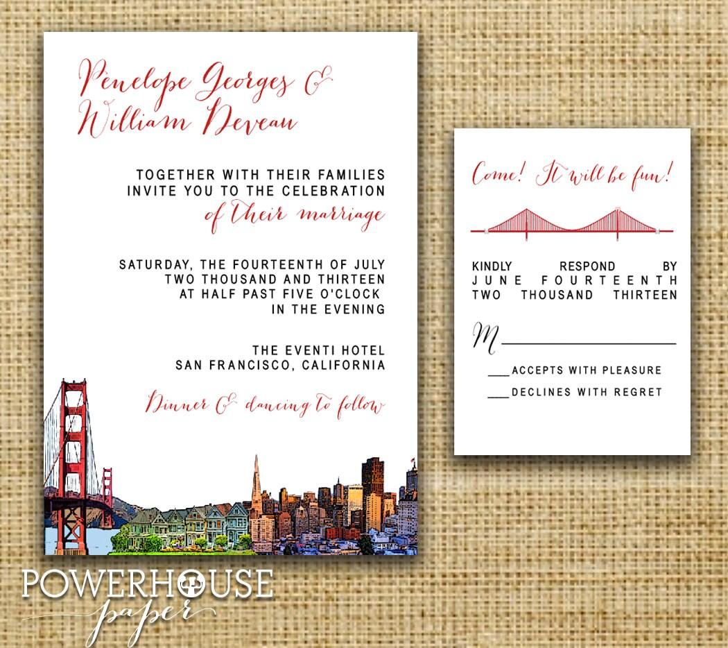 san francisco skyline wedding invitations - 28 images - san ...