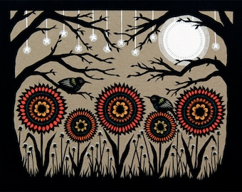 Budding Moon - 11 x 14 inch Cut Paper Art Print