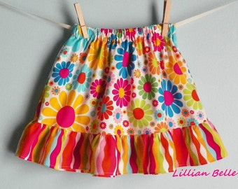 READY TO SHIP Lillian Belle Girls Ruffle Skirt Colorful Daisy Dot and Wavy Stripe Custom Size 4T