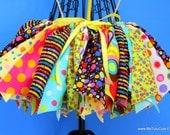 Rainbow Polka Dot Confetti Fabric Scraps Tutu Skirt MADE TO ORDER size newborn to 4T