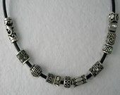Make Your Own Necklace Black Leather with Pewter Beads to Select Customizable Adjustable Length