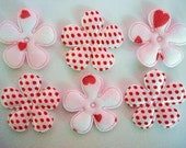 ALL DOTS 10 padded Valentine's hearts and dots flower appliques EM-338 embellishments