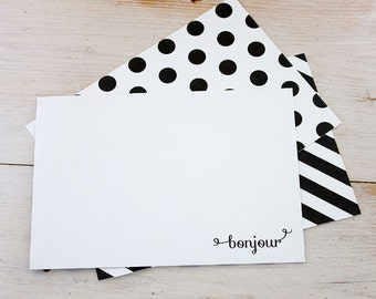 Bonjour Boxed Notecards, Set Of Six