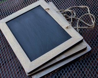"Rustic Hanging Chalkboard with Twine Hanger - 7"" x 10"" - Chalkboard - Wedding Decor - Chalkboard Sign"