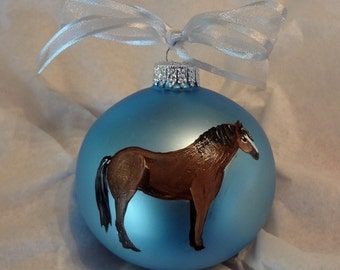 Quarter Horse Hand Painted Christmas Ornament - Can Be Personalized with Name