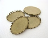 Cameo Setting Antiqued Brass Filigree Setting 25x18mm Cabochons set0090 (4)