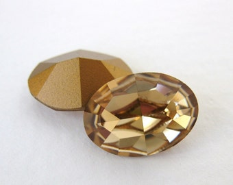 Vintage Rhinestone Swarovski Crystal Colorado Topaz Jewel Oval 14x10mm swa0407 (2)