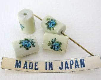 Vintage Glass Flower Bead Blue Rose Decal White Focal Japan 12mm vgb0640 (4)