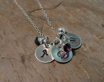 Initial Me Three - Personalized Initial Charm Necklace - Birthstone Jewelry - Mothers Necklace - Sterling Silver - Handstamped Necklace