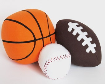 Sports Ball Trio Sewing Pattern: Baseball, Basketball, Football