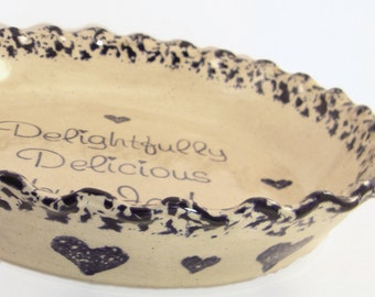 Beige with Hearts Pie Dish - Personalized Pie Plate - Beige Stoneware Glaze with Hearts - Country Theme Pie Dish - Ceramic Baking Dish