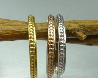 Stacking rings. Stacking rings with beads. Beaded  stacking ring or wedding bands.  14k gold.