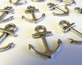 10 Small Sliver Anchor Charms