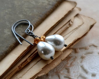 Pearl earrings, South Sea shell pearl, sterling silver, wedding jewelry - New Beginnings